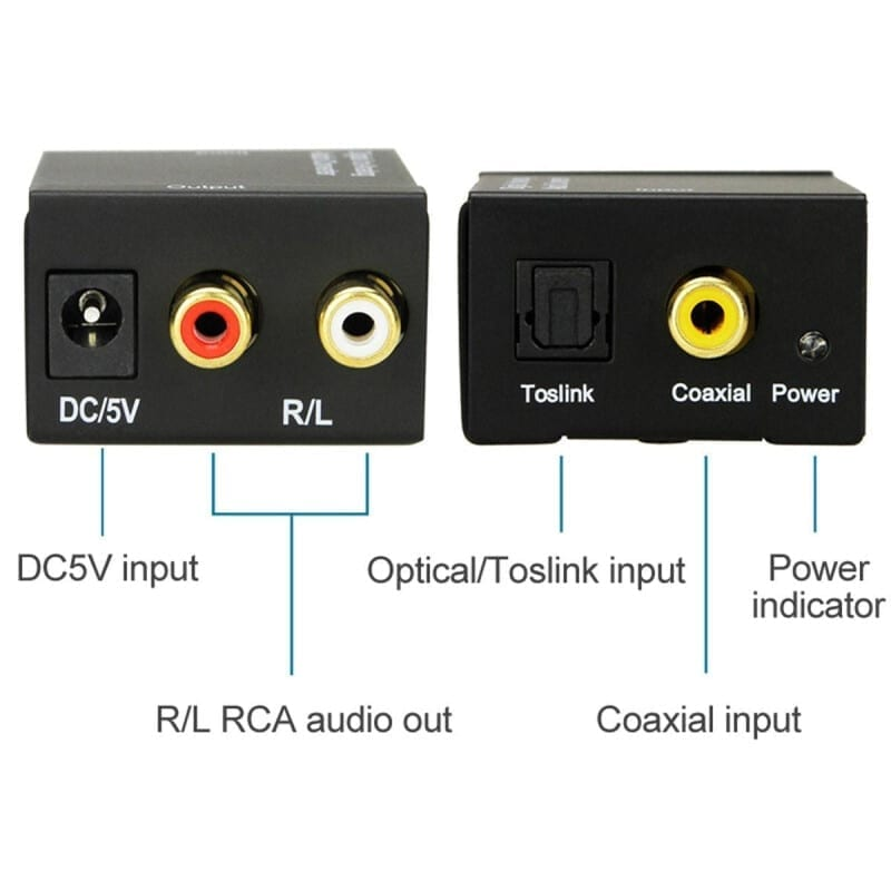Optical/Toslink/Coaxial to RCA Μετατροπέας Ψηφιακού Ήχου Σε Αναλογικό Με Τροφοδοτικό