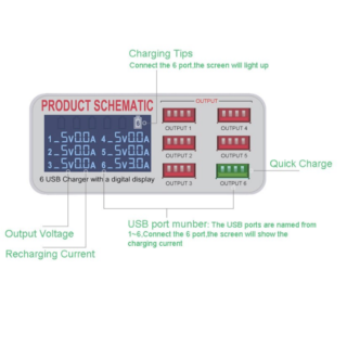 WLX-899 Σταθμός Φόρτισης USB 6 Θέσεων με Οθόνη Ενδείξεων LCD