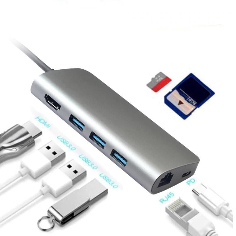 ADAPTER HUB TYPE C 8 IN 1 HDMI | USB | SD | LAN