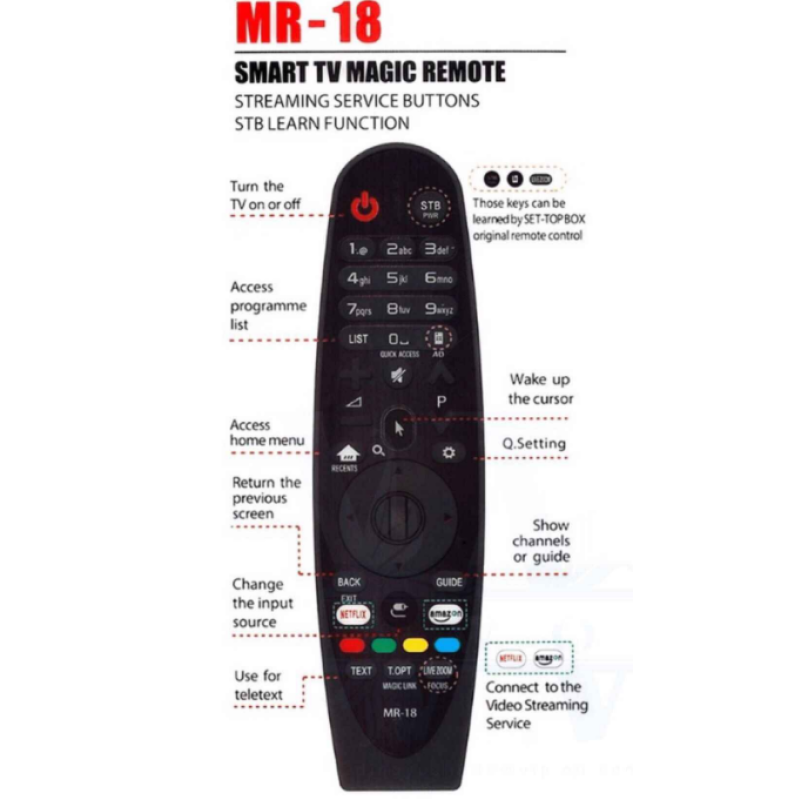 HUAYU MR-18  Magic Motion LG Smart TV netflix Τηλεχειριστήριο