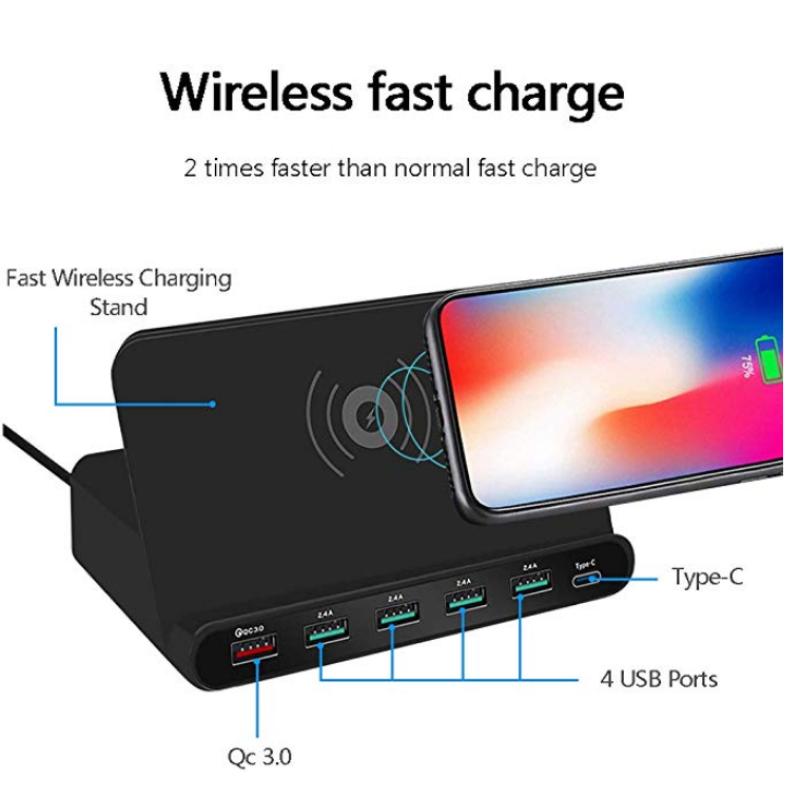 WLX-828W Σταθμός Φόρτισης USB 6 Θέσεων +1PORT QC 3.0 +1PORT TYPE-C+WIRELESS