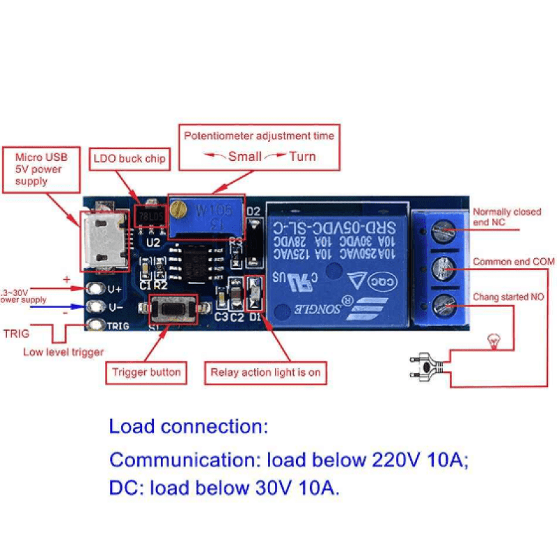 5V-30V Trigger Delay Timer Relay Conduction Relay Module Time Delay Switch