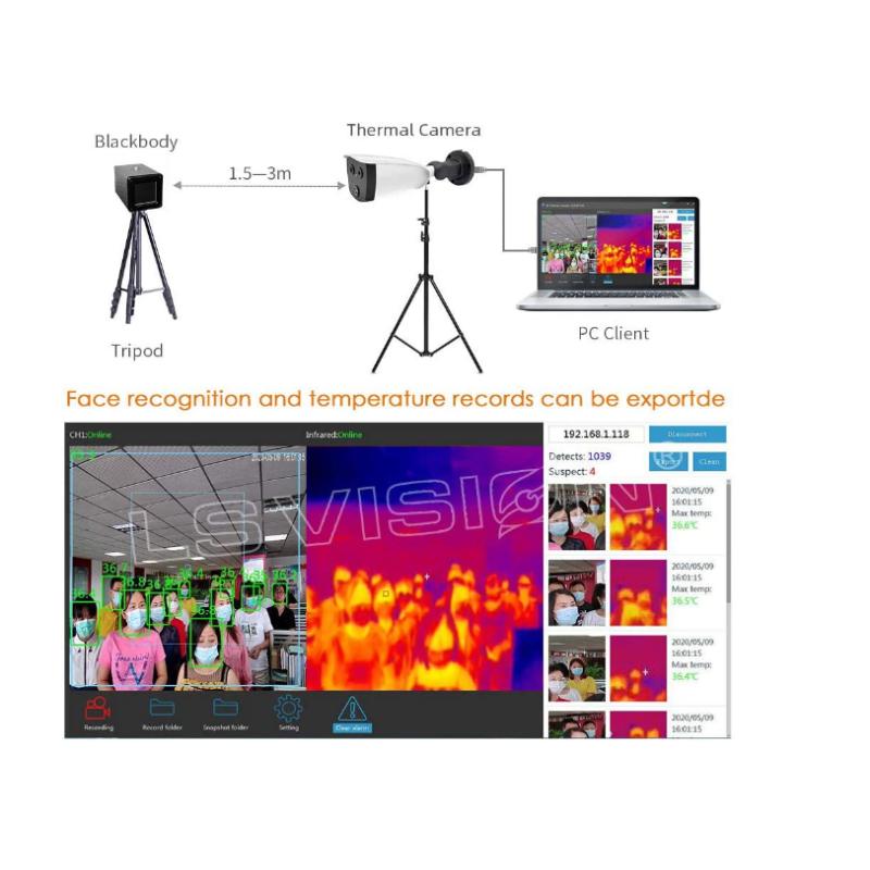 Θερμικη καμερα με αναγνωριση προσωπου , TG-8266-T Temperature Camera with Alarm System, 2MP
