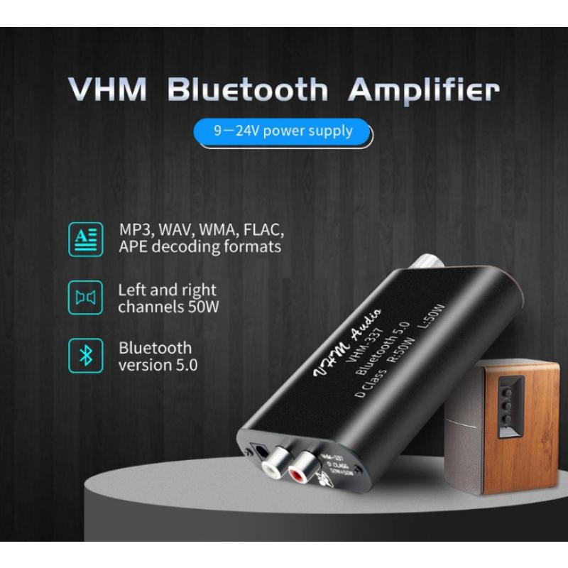 Ενισχυτής Ήχου class D 2X50W RMS HIFI bluetooth 5.0 AUX USB Stereo Power Amplifier VHM-337