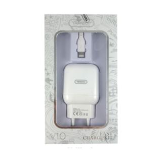 V10 KIT φορτιστή USB με καλώδιο lighting( για φορτιση iphone )  2,4A